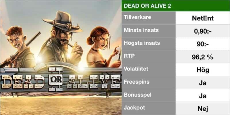 populära slotsspel - dead or alive 2 info