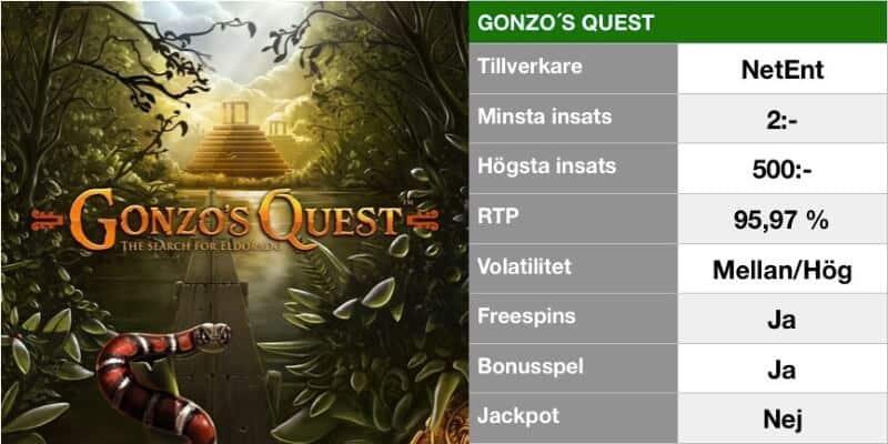 populära slotsspel - gonzos quest info
