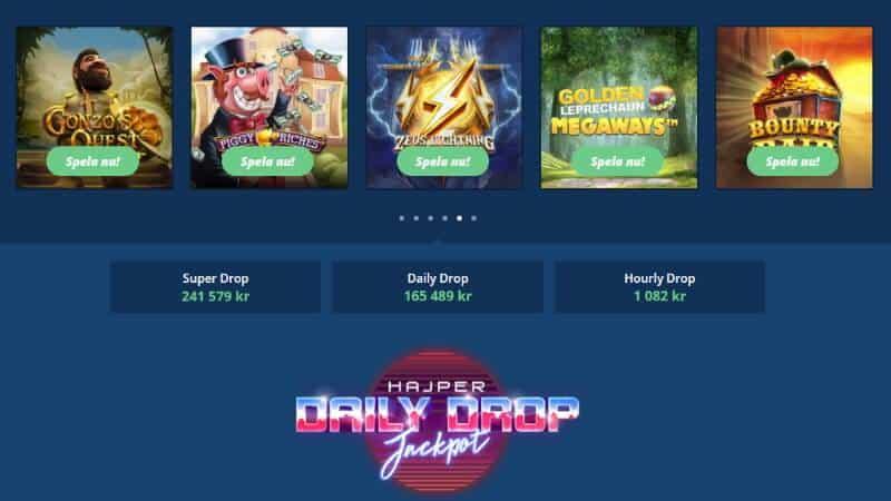 hajper casino dagliga jackpottar