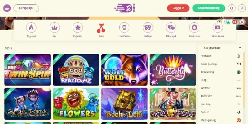 yoyo casino speltillverkare