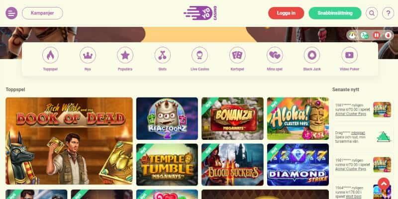 yoyo casino spelutbud slots