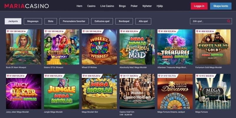 maria casino spelutbud slots