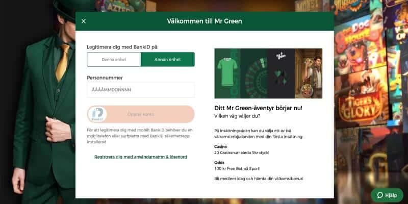 mr-green registrering logga in