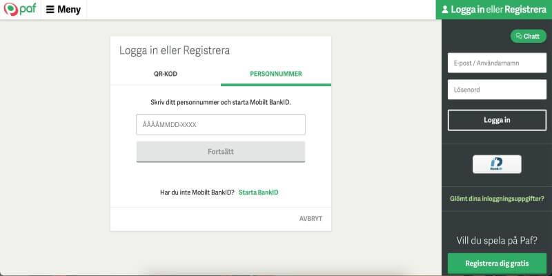 paf registrering logga in