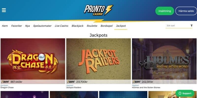 pronto-casino-jackpottar